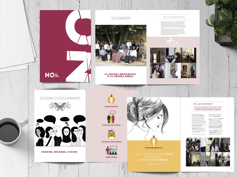 La brand identiy di Nosotras declinata nel materiale informativo - branding, progettazione grafica e comunicazione visiva di Myosign Annarita Bonanata